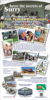 Surry Tourism Ad featuring the pork, Peanut, and Pine Festival